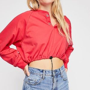 Free people team player pullover crop top